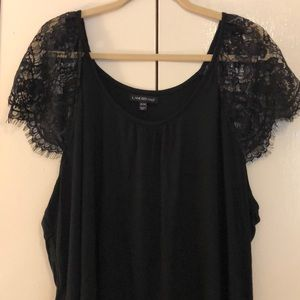 Lane Bryant 22/24 black top w/lace sleeves